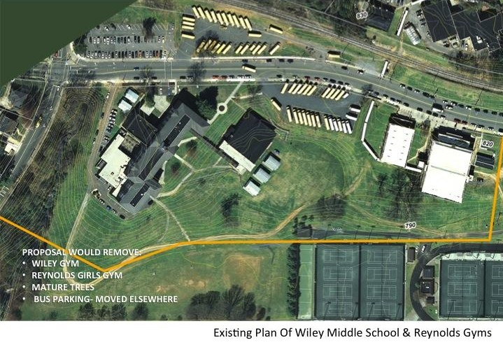 Aerial view of the building site for Wiley gymnasium and the proposed Reynolds stadium