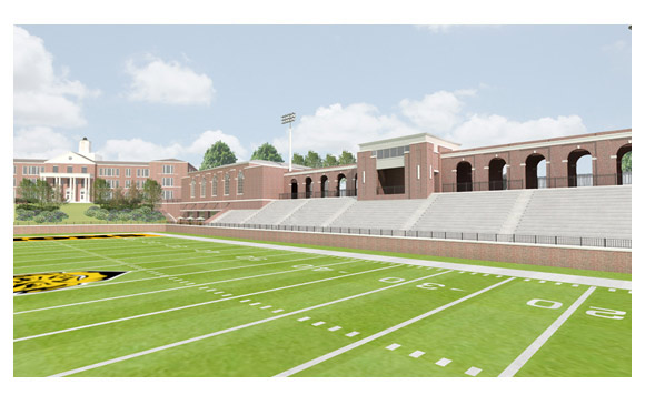 R. J. Reynolds stadium rendering 1 from Home Field Advantage's website showing views from the football field towards Wiley School and Gymnasium.