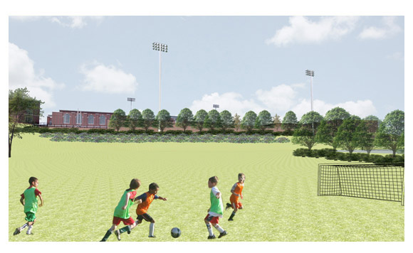R. J. Reynolds high school stadium rendering 6 from Home Field Advantage's website showing views from Hanes Park.