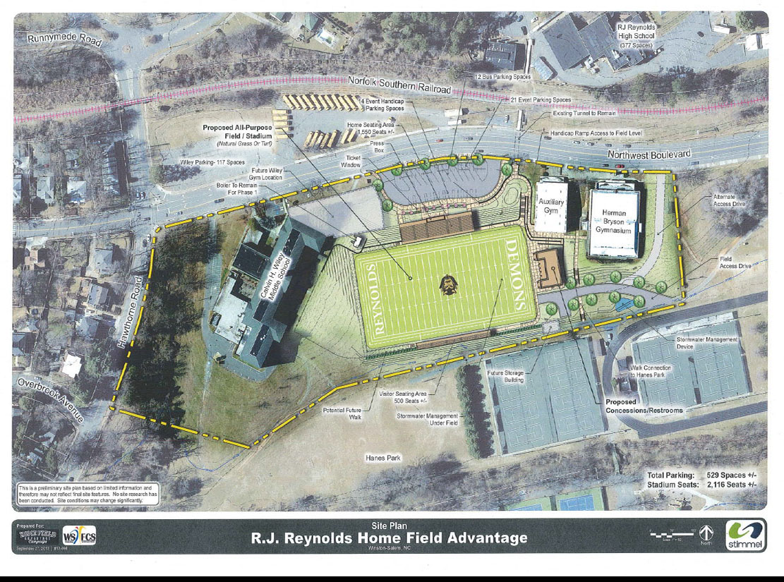 Stimmel site plan prepared for Home Field Advantage and WSFCS for construction in Hanes Park depicting the current Reynolds High School stadium proposal.