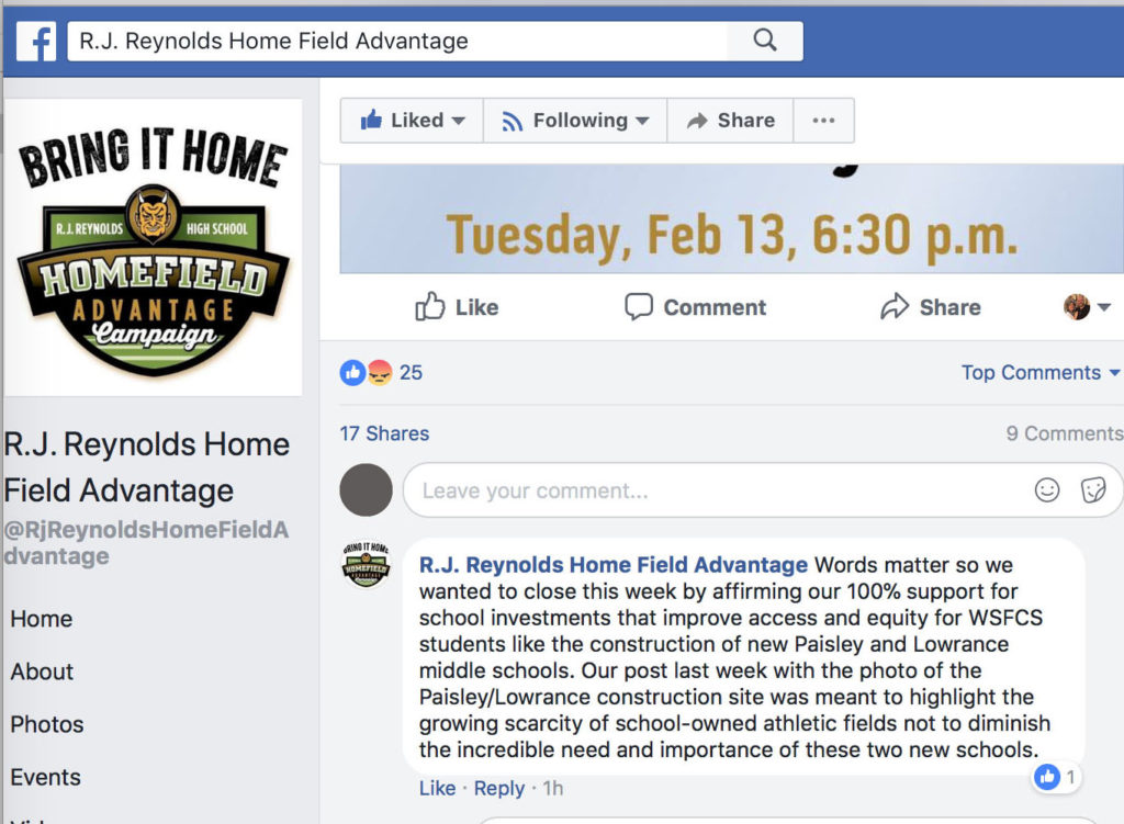 A screen grab of Home Field Advantage's Facebook page highlighting their post that reads: Words matter so we wanted to close this week by affirming our 100% support for school investments that improve access and equity for WSFCS students like the construction of new Paisley and Lowrance middle schools. Our post last week with the photo of the Paisley/Lowrance construction site was meant to highlight the growing scarcity of school-owned athletic fields not to diminish the incredible need and importance of these two new schools.
